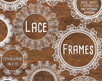 Digital Lace Clipart: Lace Clip Art, Lace Frame Clipart, Wedding Clipart Frames, White Lace Overlay, Black Lace Vectors Instant Download