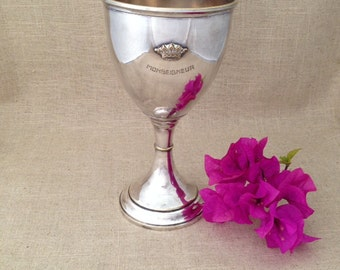 vintage Paris nightclub goblet, chalice, Le Monseigneur, silverplated, very chic
