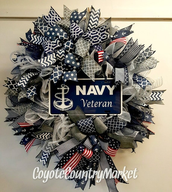 United States Navy Veteran Mesh Wreath Veteran Wreath US