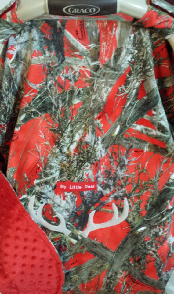 Car Seat Canopy Cover True Timber Red Camo Baby Faux Suede N