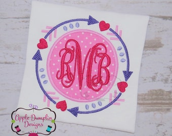 Arrow Circle Frame with Hearts Applique Design, Embroidery Design, Valentine Applique, Monogram, Girl Applique, 4x4, 5x7, 6x10, 8x8