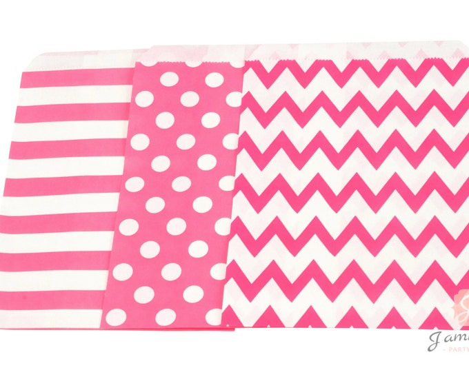 5x7 Bright Pink Treat bags in Chevron Dot and Stripe , Hot Pink Christmas Treat Bags, Candy Chevron Bags, Kids Girls Birthday, Paper Bags