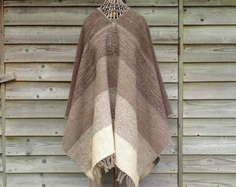 Brown and cream poncho, large, handwoven in natural, undyed 100% wool