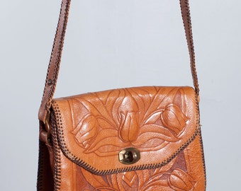 Vintage Tooled Leather Bag with Tulip Design