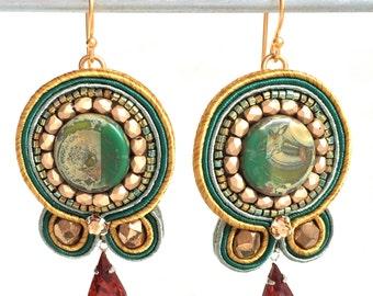 Soutache Earrings - Green Earrings - Embroidered Jewelry - Beaded Bijoux - Birthday Gift Mom - Statement Earrings - Large Earrings - Boho