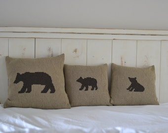 Mama Bear and Cubs Pillow Cover Set