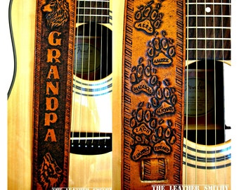 "Custom Designed Hand Tooled Leather Guitar Strap with Matte Background – 2.5"" Wide and Adjustable, For Acoustic or Electric Guitars"