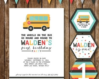 Wheels on the Bus Birthday Invite, Cupcake Toppers and Bunting Banner Design