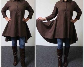 Boho, Country, Western all Cotton Designer Hi Low Plus Size and Regular size shirt. XL, 1XL,2XL,3XL