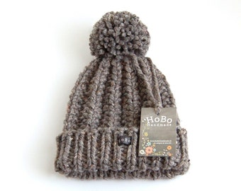 Womens Charcoal/Dark Grey Tweed Bobble Hat. Thick chunky hand knitted beanie. Large removable pom pom. HoBo Handmade gray wool blend M and L