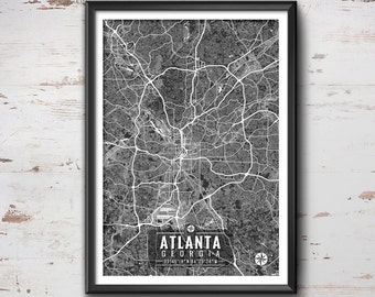 ATLANTA Georgia Map with Coordinates, Atlanta Map, Map Art, Map Print, Atlanta Print, Atlanta Art, Atlanta Wall Art, Wall Art, Atlanta, Map