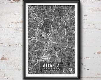 Atlanta Georgia Map with Coordinates, Atlanta Map, Map Art, Map Print, Atlanta Print, Atlanta Art, Atlanta Wall Art, Wall Art, Atlanta, Map