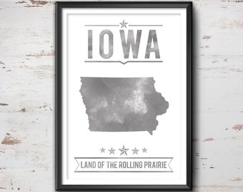 Iowa State Typography Print, Typography Poster, Iowa Poster, Iowa Art, Iowa Gift, Iowa Decor, Iowa Print, Iowa Love, Iowa State, Iowa Map