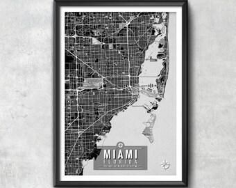 MIAMI Florida Map with Coordinates, Miami Wall Art, Miami Map, Map Art, Map Print, Miami Print, Miami Art, Miami Decor, Miami Poster, Miami