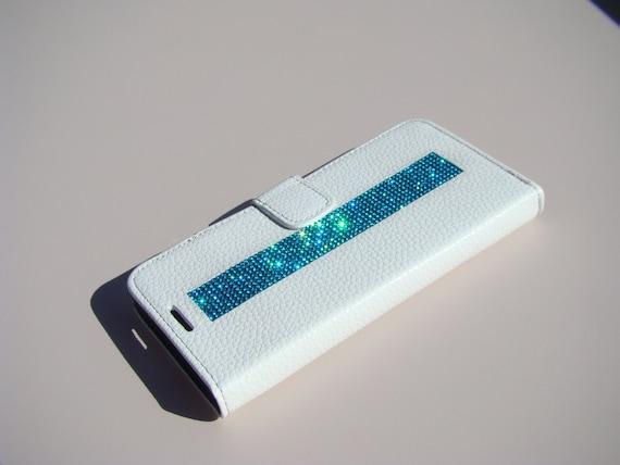 "Samsung Galaxy S6 "" Edge Plus"" Aquamarine Blue Rhinestone, White Wallet Case. Velvet/Silk Pouch bag Included, Genuine Rangsee Crystal Cases."