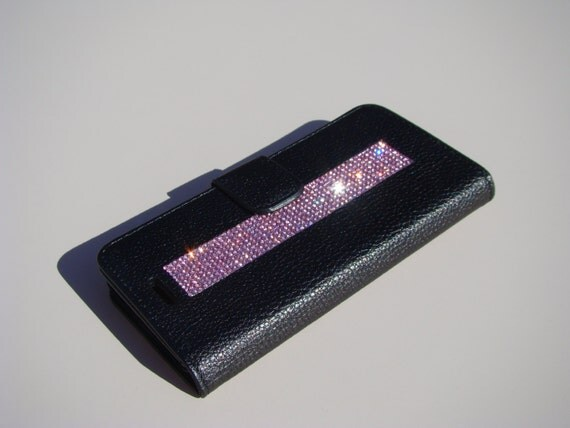 """iPhone 6 / 6s 4.7"""" Pink Diamond Rhinestone Crystals on Black Wallet Case. Velvet/Silk Pouch bag Included, Genuine Rangsee Crystal Cases."""