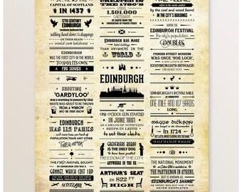 Edinburgh Art, Facts Poster, Typography Print, Edinburgh Print, Scotland Wall Art, Art Print, Scottish Artwork, Edinburgh Art, Scottish Gift