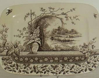 19th C English Brown Transferware Platter