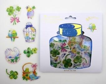 48 Japanese bird & four leaf clover sticker flakes -  pet lovebirds - parakeet - cockatiel - budgies - white dove - birdcages and baskets