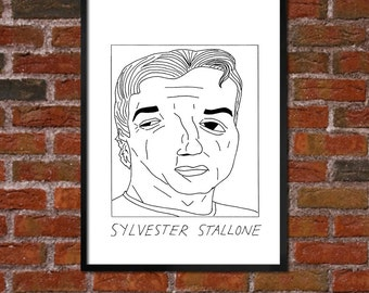Badly Drawn Sylvester Stallone - Poster