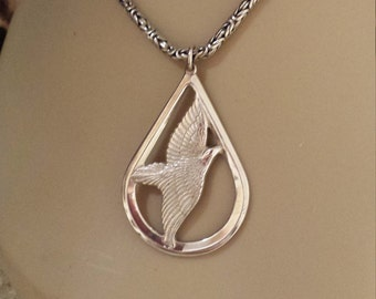 Sterling silver vintage dove pendant