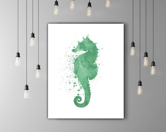 Green Wall Art Print Watercolor Printable Art, Seahorse Wall Art Download, Seahorse Wall Decor Nautical, Green Watercolor Paint Splatter Art