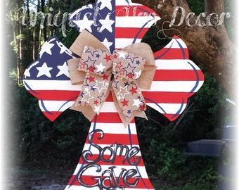 Stars & Stripes Cross Door Hanger, Door Hanger, Cross Door Hanger, Patriotic Door Hanger, 4th of July, Memorial Day Door Hanger
