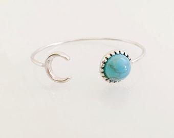 Cuff bracelet, Boho bracelet, Bangle bracelet, Arm bracelet, Dainty bracelet, Bohemian cuff bracelet, Moon bracelet