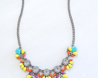 Statement necklace, Bib necklace, Colorful necklace, Flower necklace