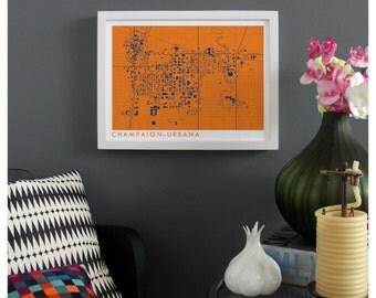 CHAMPAIGN-URBANA ILLINOIS Map Print - graphic drawing art poster University of Illinois Illini