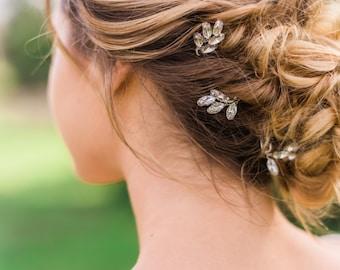 Crystal Laurel Pins laurel leaf pins crystal hair pins bridal hair pins gold hair pins silver hair pins wedding hair pins Leaf hair Pin #128