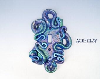 DELUXE Iridescent Octopus Light Switch Cover sculpture wall home decor housewares bathroom beach clay handmade metallic gold ooak plate art
