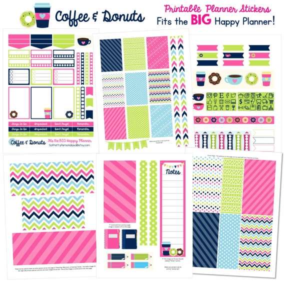 Coffee & Donuts - Fits The BIG Happy Planner (8.5 x 11) - Printable Planner Stickers - 7 Full Pages!