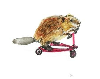 Beaver print - Beaver on a scooter nursery print, beaver art, beaver painting, beaver illustration, animal nursery, beaver nursery wall art