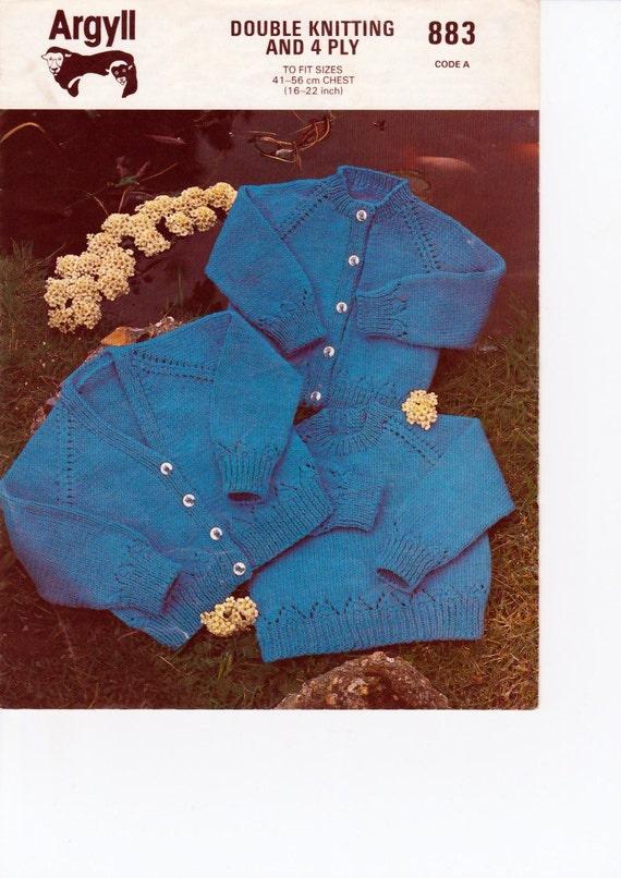 Knitting Pattern Chest Sizes : Vintage Knitting Pattern pdf. Sweater / V Neck & High Neck