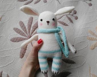 Crochet bunny plushie, amigurumi gudule, cute baby toy
