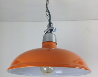 Orange Factory Ceiling Light