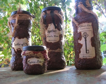 4 Witch Potion Bottles Grubby Witches Brew Alchemy - Halloween