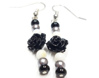 Earrings, Black Rose With White, Grey And Black Glass Beads