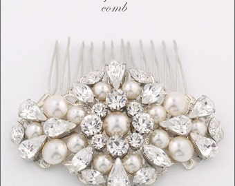 Bridal hair comb - statement wedding comb - wedding hair comb - crystal and pearl - statement headpiece - crystal hair comb - St John comb
