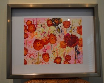Reflection Abstract Original Painting with Alcohol Ink & Watercolour