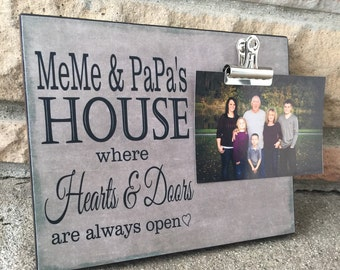 Grandparents Picture Frame, Meme & Papa's House Where Hearts and Doors Are Always Open, Grandparents Gift, 8x10 Photo Board With Photo Clip