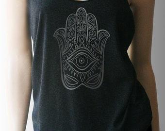 Hamsa Hand Yoga Tank. Yoga Top. Yoga Shirt. Yoga Clothes. Workout Tank. Workout Shirt. Workout Clothes. Exercise Clothing.  Shirt. Fitness.