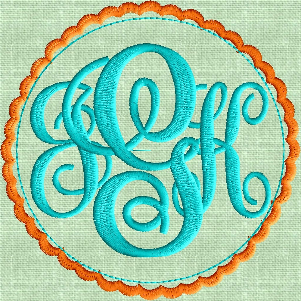 Scalloped circle font frame monogram embroidery design