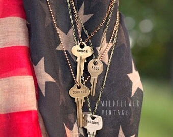 Key Necklace | Hand Stamped Vintage Repurposed Custom | Made in the USA