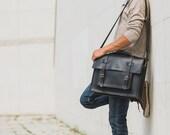Messenger Bag Black Leather Briefcase Pilot Messenger Laptop Messenger Crossbody Bag Rucksack Messenger Unisex Leather Briefcase