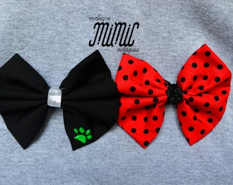 Handmade Miraculous Ladybug and Cat Noir Bows