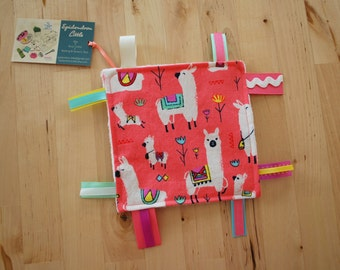ALMOST GONE 6-inch Llamas / Alpacas Baby Crinkle Square / Sensory Toy with Ribbon Tags