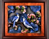 Upscale Gift, Blue Jays cuple, Wood Carving, Carved and Hand Painted, gift for him and her, For Bird Lovers