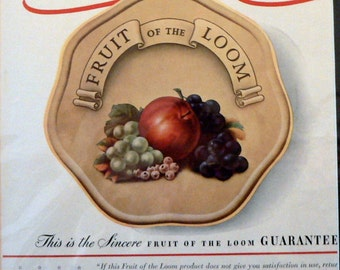 1940 Fruit of the Loom Ad Matted Life Magazine Print